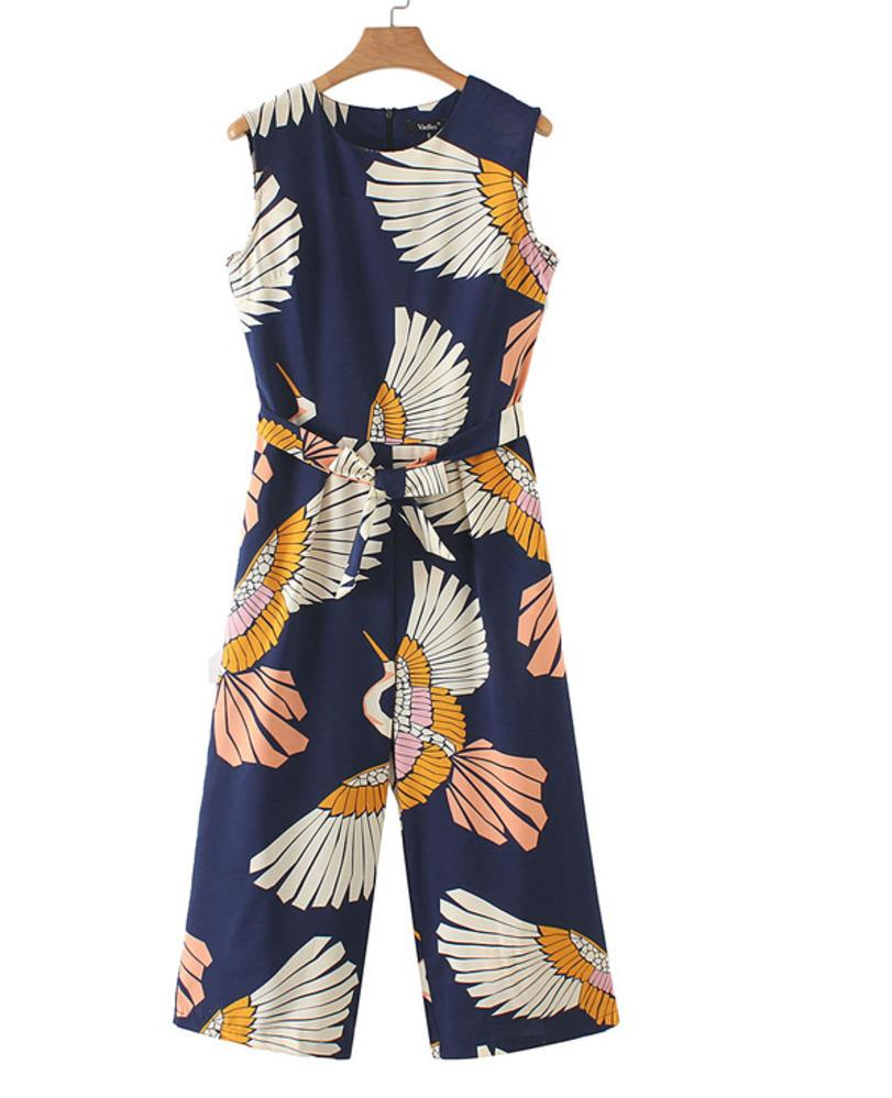 5318bf09f77b3 Women Cute Crane Print Jumpsuits Bow Tie Sashes Pockets Sleeveless Pleated  Rompers Ladies Casual Jumpsuits Ka140