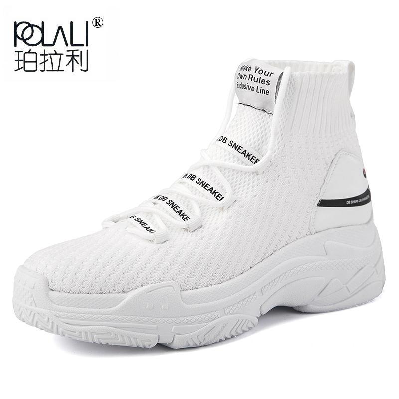 0ac84abb36 Compre POLALI Logotipo Tubarão High Top Sneakers Mulheres Malha Superior  Respirável Sapatos Meia Sola Grossa 5 CM Moda Sapato Feminino Preto Branco  De ...