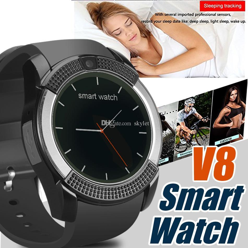 Montre-bracelet à écran tactile Bluetooth V8 SmartWatch Bluetooth avec fente pour carte SIM / appareil photo, montre intelligente étanche DZ09 X6 VS M2 A1