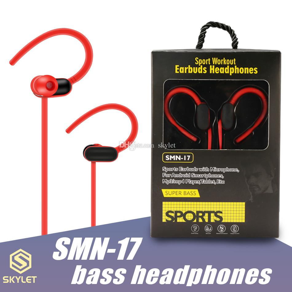 Sport Earphone SMN17 Earbuds Hearphones with Mic Super Bass Wired Denoise Headset 3.5mm for android smartphones MP3 MP4 Tablet in Retail Box
