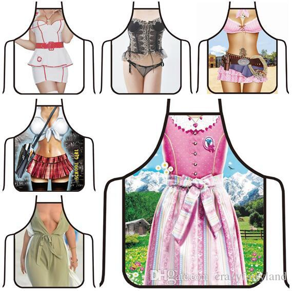3D Funny Apron Hero Kitchen Apron Man Women Sexy Aprons Dinner Party  Cooking Apron Adult Cuisine Pinafore 500 Styles Free Shipping