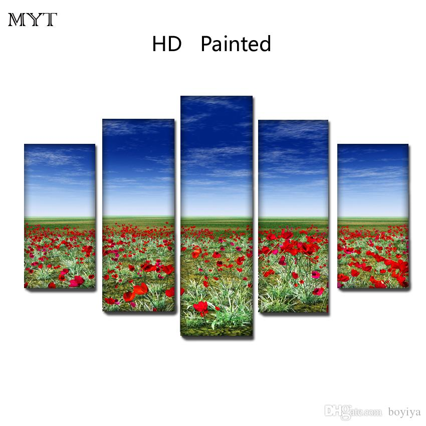 Free shipping HD Printed 5 Pieces High Quality Large size Canvas beautiful painting red flowers under the sky Wall Art pictures Home Decor