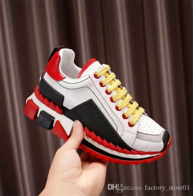 2019 Sneakers Super King con fondo rosso in alto Sneakers Sorrento multicolor da donna e da uomo in viaggio con scatola