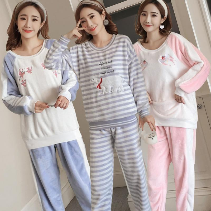 2ca66596af8e 2019 Thick Warm Flannel Pajamas Sets For Women 2018 Winter Long Sleeve Coral  Velvet Pyjamas Girls Cute Cartoon Sleepwear Pijama Mujer From Blithenice