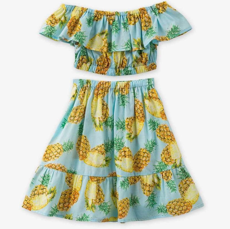 f9a8c40d3 2019 Retail Summer Girl Clothing Sets Pineapple Print Beach Dresses  Shoulderless Top+Ruffles Long Skirt Kid Outfits 3 5Y E2002 From Mindai,  $10.85   DHgate.
