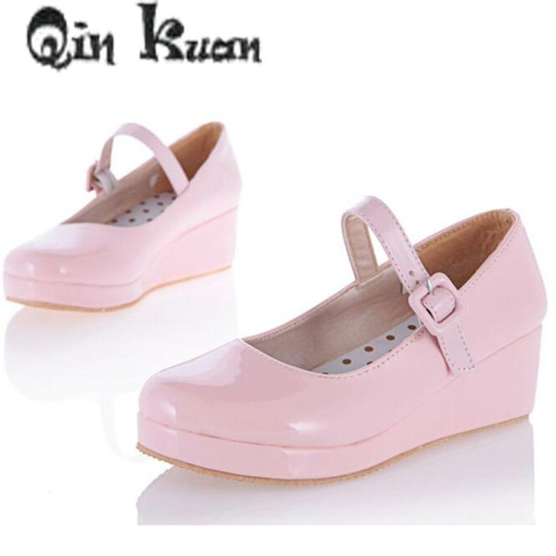55c24ae5baec Dress Shoes Qin Kuan Women Student Cosplay High Heels Pumps Lolita Sweet Lady  Wedge Patent Leather Sweet Big Size 33 43 Italian Shoes Summer Shoes From  ...