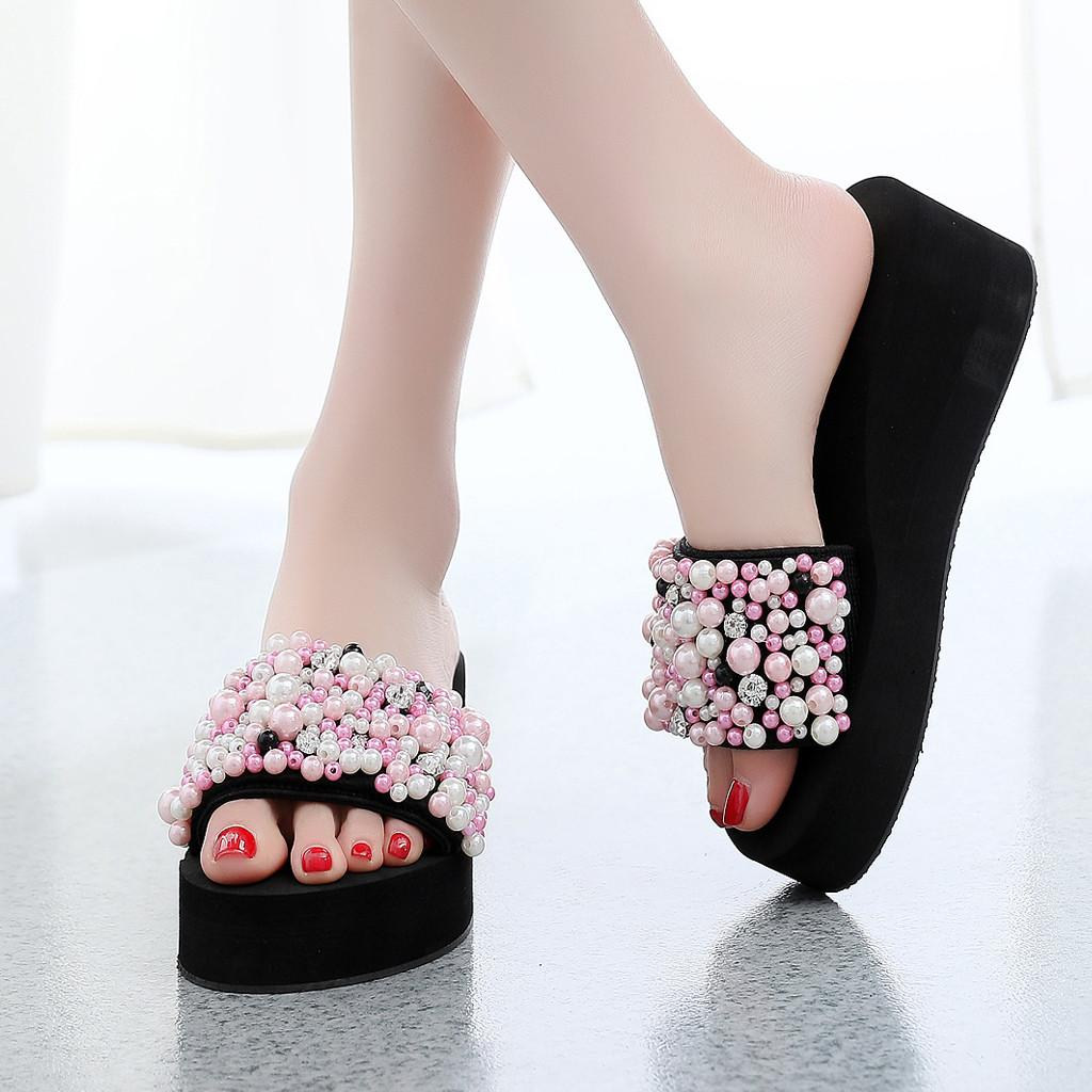d3c27dd541e2 YOUYEDIAN 2019 Summer Pearl Women Slippers Fashion Wedges Slides Female  Platform Beach Slippers Women Shoes Sandals Boots Online Cowboy Boots For  Women From ...