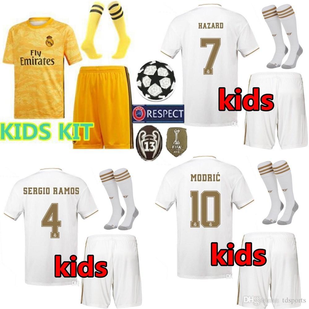 the latest 91671 305a4 2019 2020 Real Madrid Kids Kit Soccer Jerseys 19 20 Home HAZARD Away 3RD  Boys Goalkeeper NAVAS Youth Modric SERGIO RAMOS Football Shirts