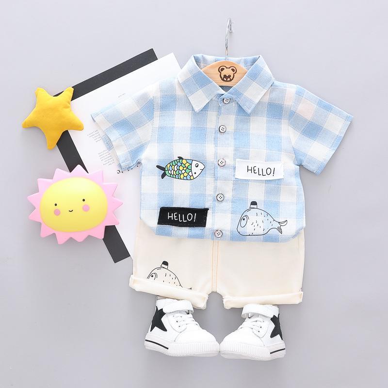 5ac04fbc1de3e Little kids cartoon Outfits fish letter printed plaid lapel shrot sleeve  cotton linen shirt shorts 2pcs sets boys casual clothes set Y1654