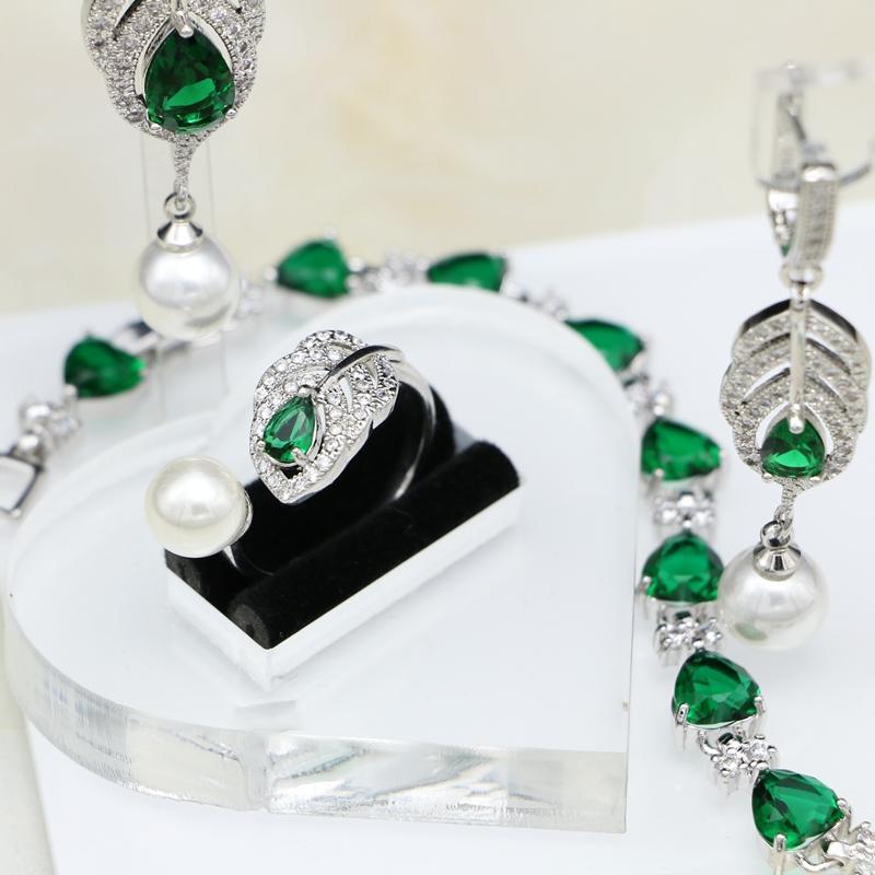 a17edc69ec4e 925 Conjuntos de joyas de plata esterlina nupcial verde CZ blanco perlas  para las mujeres Pendientes de boda   colgante   collar   anillo   conjunto  de ...