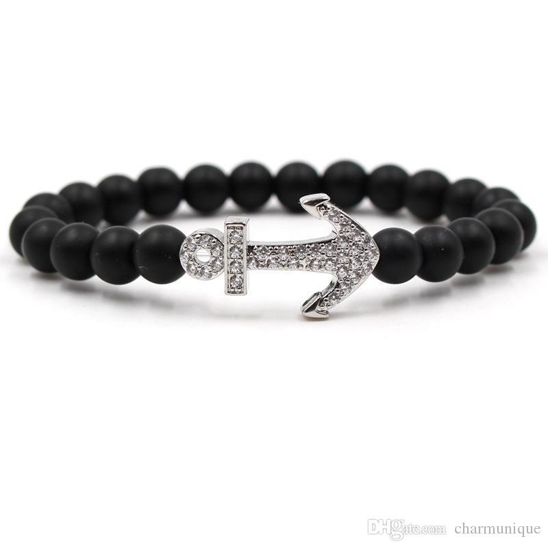 new styles 4cf83 5c9e8 2019 uomini braccialetto reale naturale pietra tallone ancora braccialetti  per donna uomo opaco nero yoga vulcanica roccia meditazione salute gioielli