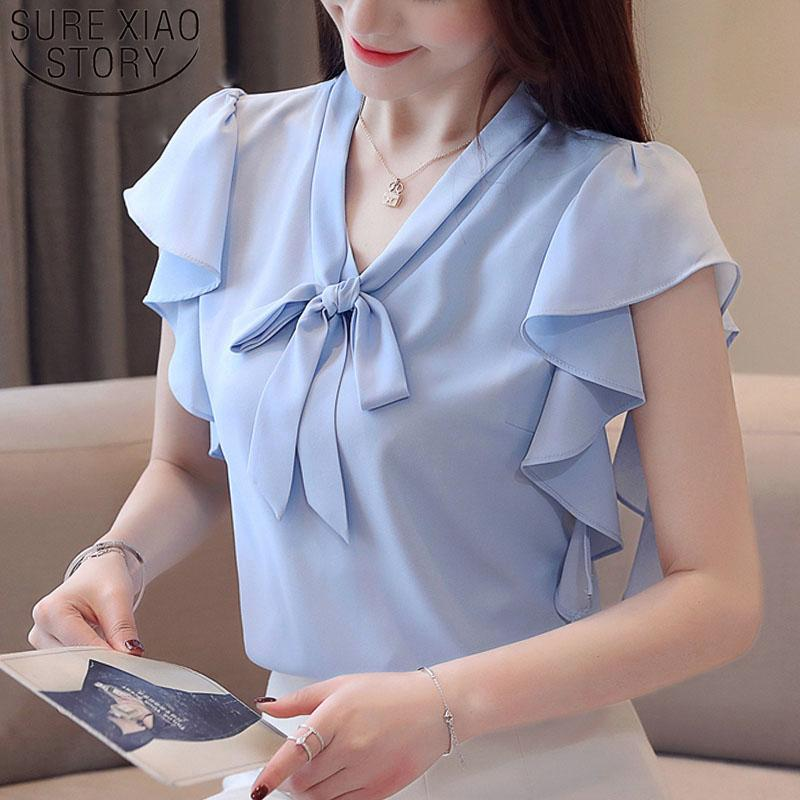 Fashion women tops and blouses 2019 ladies tops white blouse shirt bow harajuku chiffon blouse V-Neck short sleeve shirt 4080 50