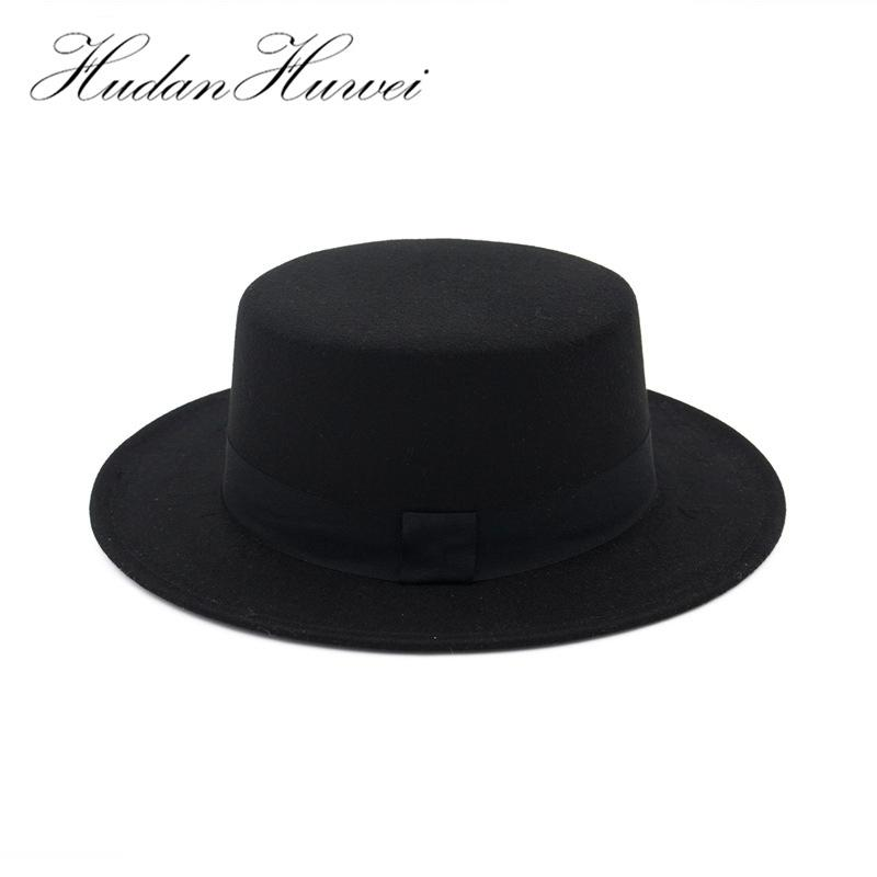 c8cbc63c39e Black Wide Brim Woolen Fedora Hats For Women Plain Flat Lady Felt Hats  Vintage European US Trilby Bowler Hat D19011102 Felt Hat Summer Hats From  Yizhan03