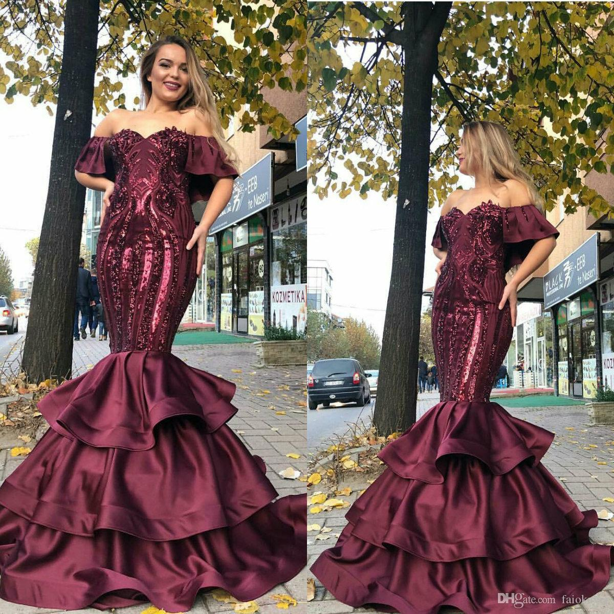 8caf47f5d018 2018 Burgundy Mermaid Prom Dresses Off The Shoulder Satin Lace Sequins Evening  Dress Party Wear Tiered Skirts Plus Size Formal Gowns Lace Prom Dresses  2015 ...