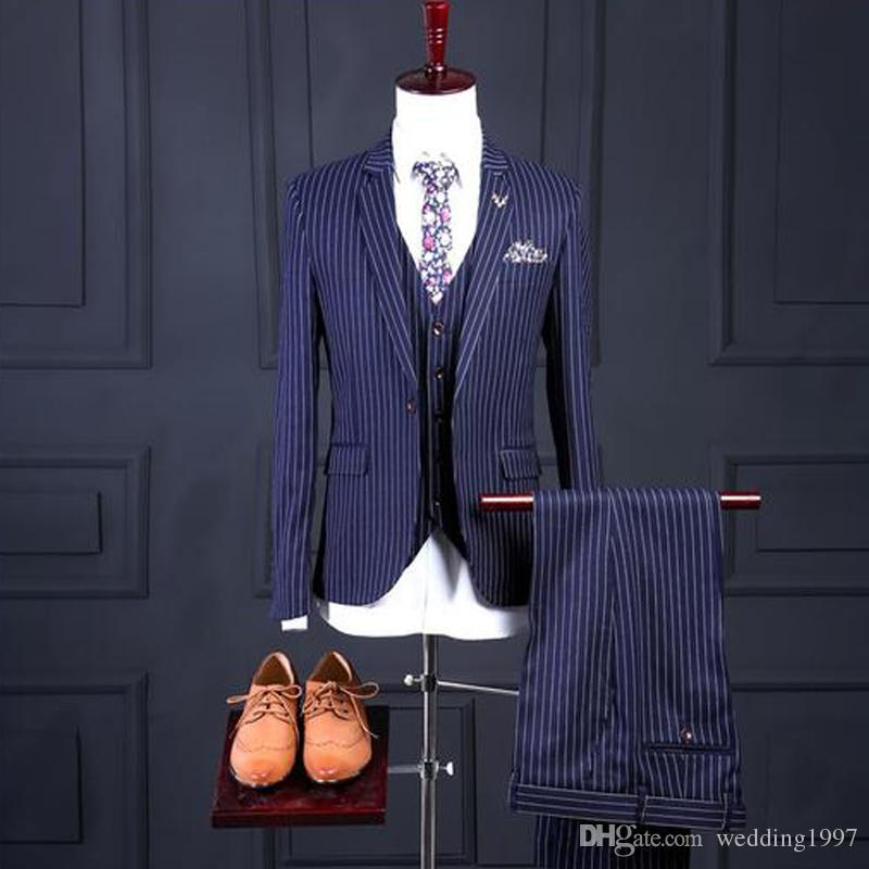 Blue Pinstripe Wedding Men Suits for Groom Tuxedos Three Piece Jacket Pant Vest Notched Lape Latest Waistcoat Blazer