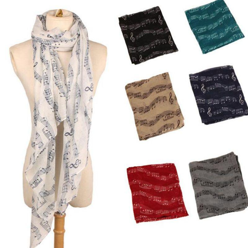 New Fashion Women big girls Music Note Print Long Scarf Elegant Scarves Neck Wrap Stole Neckerchief scarves