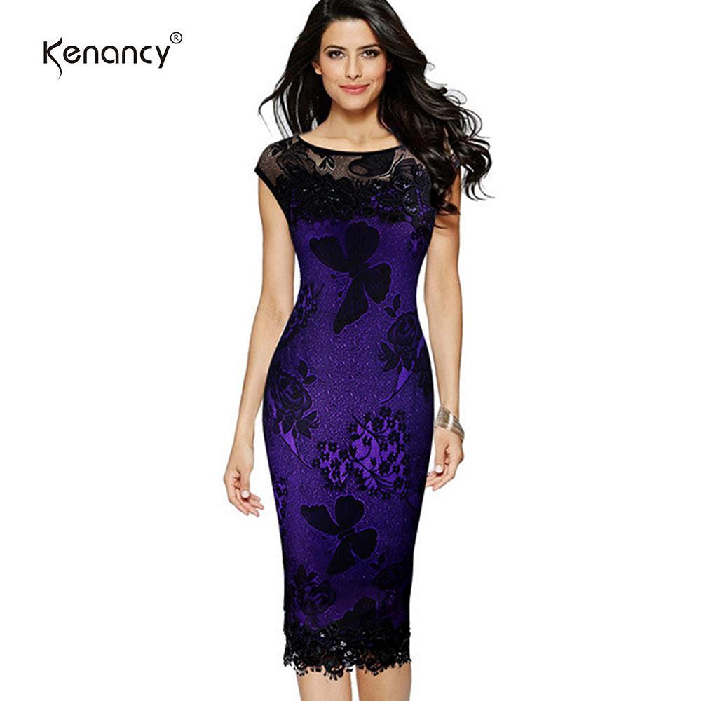 8d385c28b9328 Kenancy 5xl Plus Size Women Pencil Dress Summer Fashion Exquisite Sequins  Crochet Butterfly Lace Party Bodycon Dress Q190404