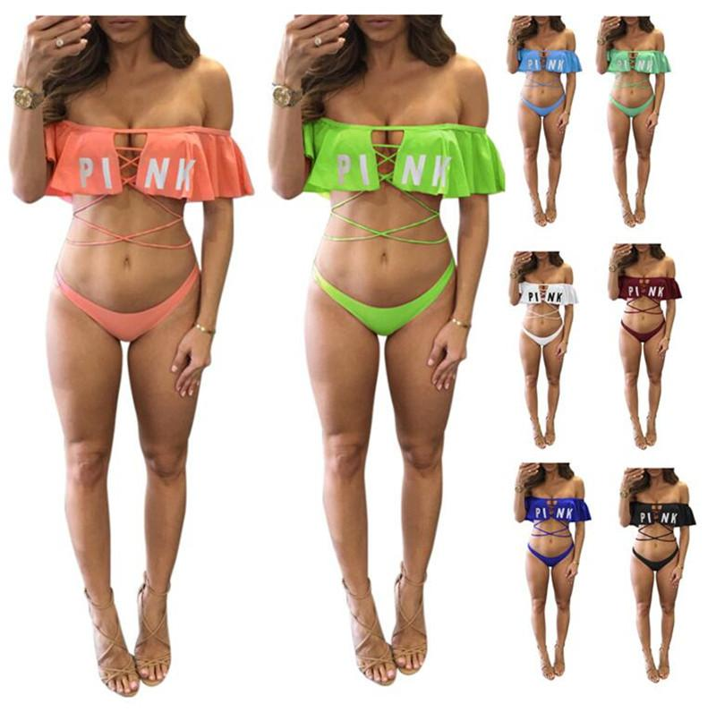 d31d2b9f91 Pink Letter Summer Women Bikini Set Swimsuit Horizontal Neck Bra+ ...