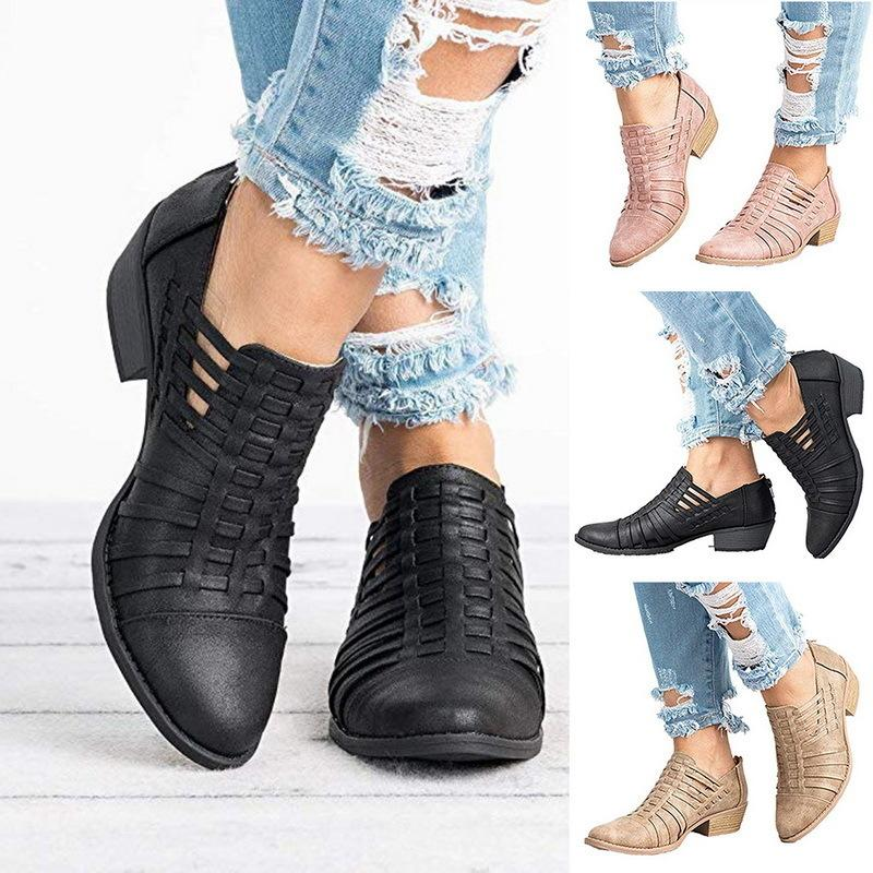 6c67d8f5ca0f Dress Shoes 2019 New Women Casual Ankle Boots Cut Out Slip On Low Heel  Short Boots Slip OnZipper Female Autumn Winter Low Cut Pointed Dress Shoes  Casual ...