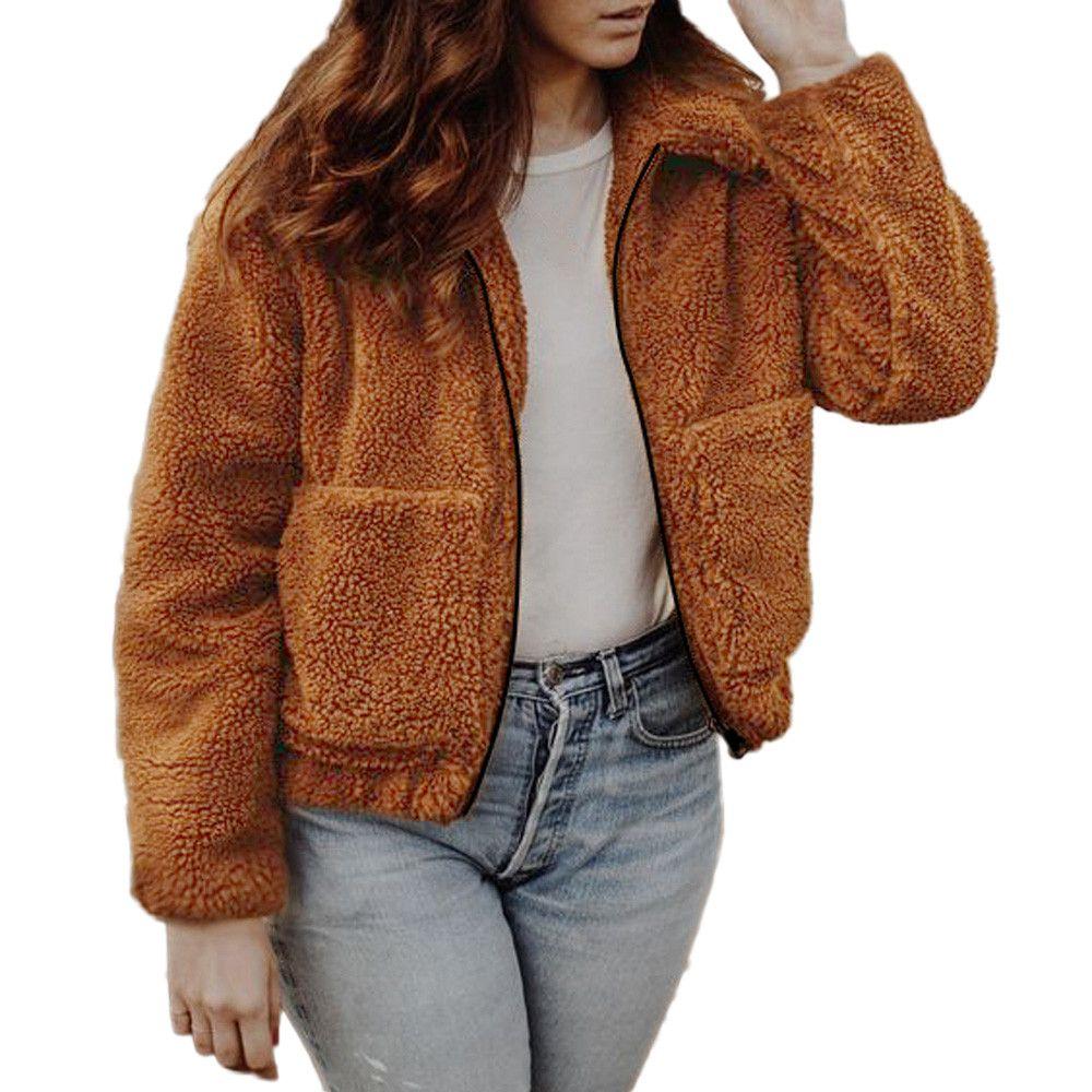 more photos cf68d cf76a Frauen Winter Plüsch Lässige Oberbekleidung Damen Warme Jacke Feste  Reißverschluss Baumwolle Winterjacke Frauen Outwear coatOuterwear # 8