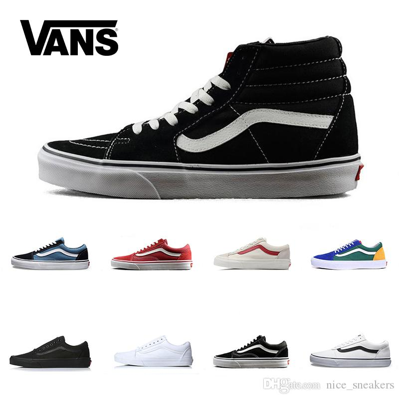 8d54e776d3a620 Brand Vans Old Skool For Men Women Casual Shoes Canvas Sneakers Black White  Red Blue Fashion Cheap Sport Skateboard Shoe Size 36 44 Skechers Shoes Mens  ...