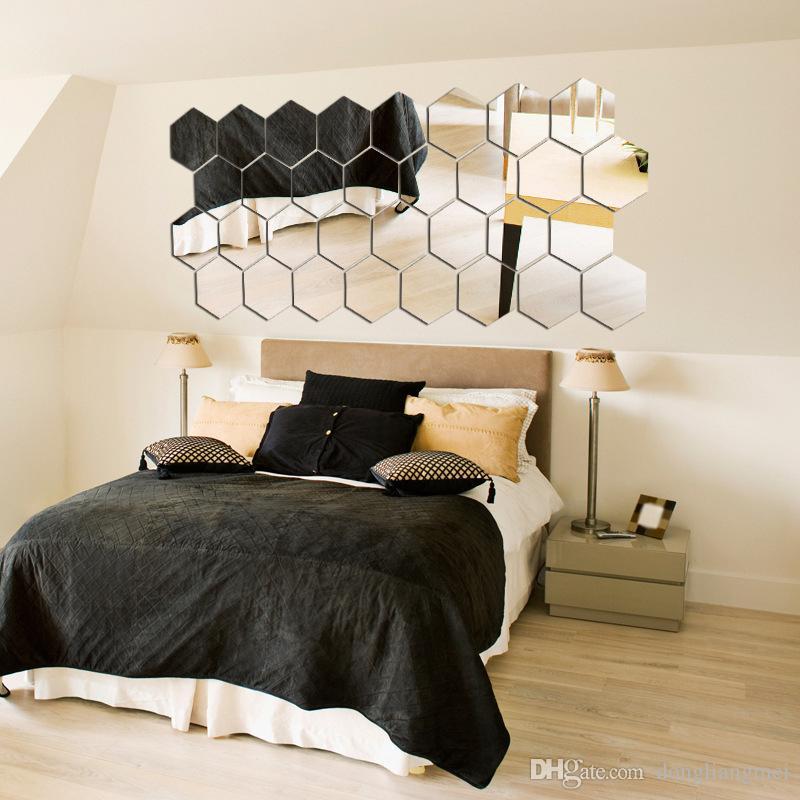 Hexagon Acrylic Mirror Wall Stickers DIY Art Wall Decor Wall ...