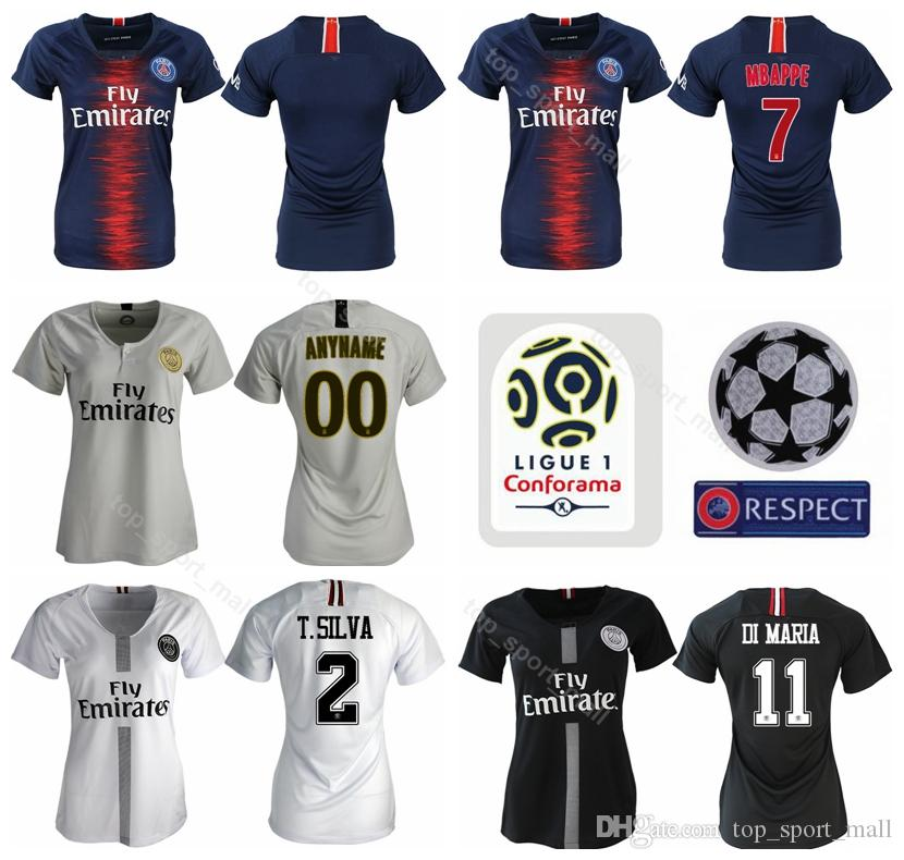 get cheap 67576 2f5b8 PSG Women MBAPPE Jersey Ligue 1 Paris Saint Germain FC Lady Soccer Blue  CAVANI DI MARIA SILVA VERRATTI Football Shirt Kits Uniform Woman