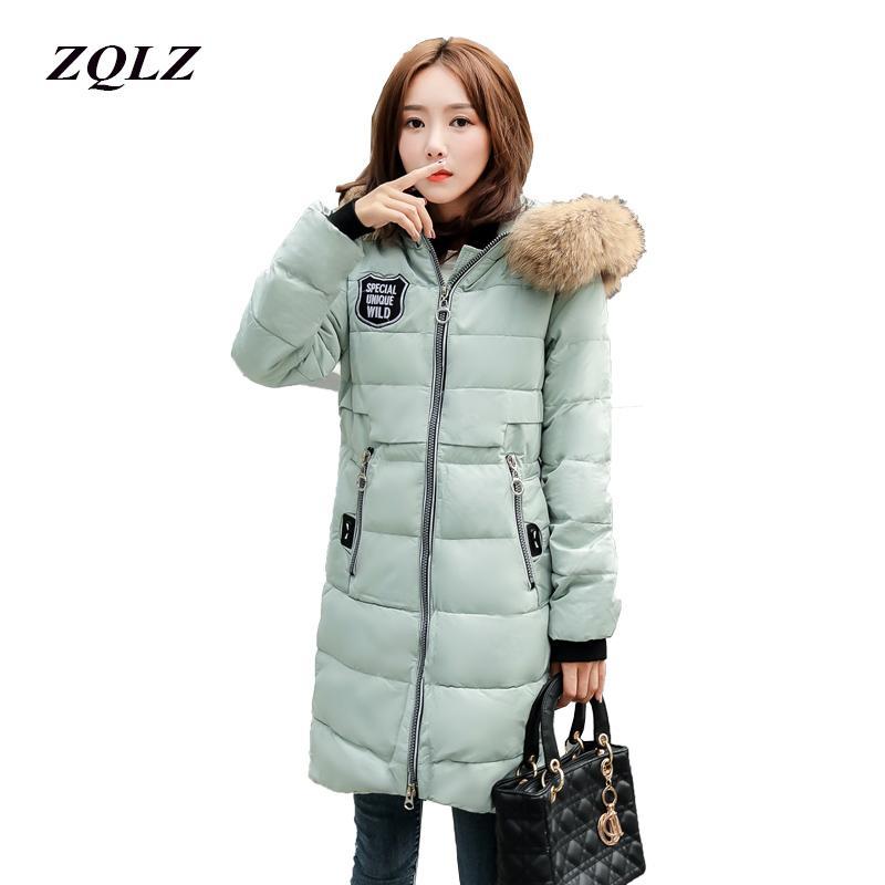 18b9815e62ef ZQLZ Winter Jacket Women Hooded Faux Fur Collar Slim Casual Long ...
