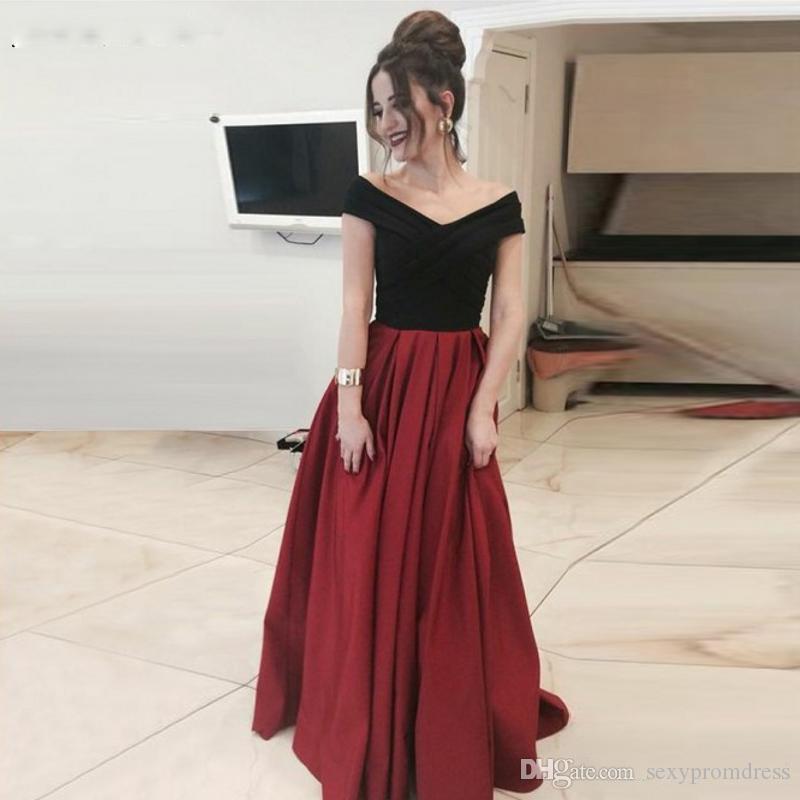86a83ec15cd Großhandel Schwarz Und Rot Prom Kleider V Ausschnitt Flügelärmel A ...