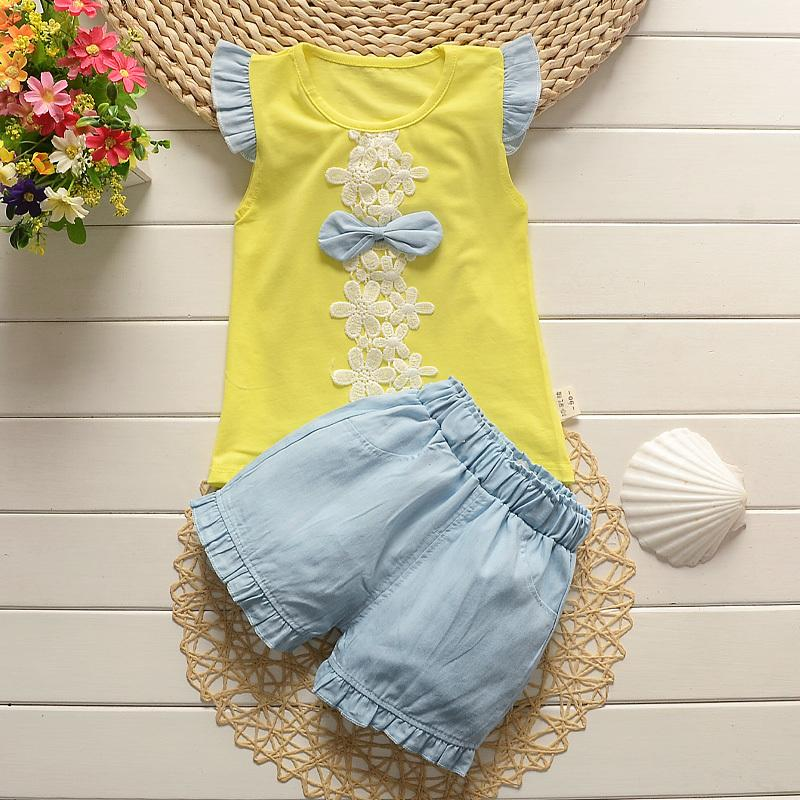 quality children girls clothing sets summer baby girls sleeveless shirts+shorts 2pcs suits cotton clothing sets for kids girls