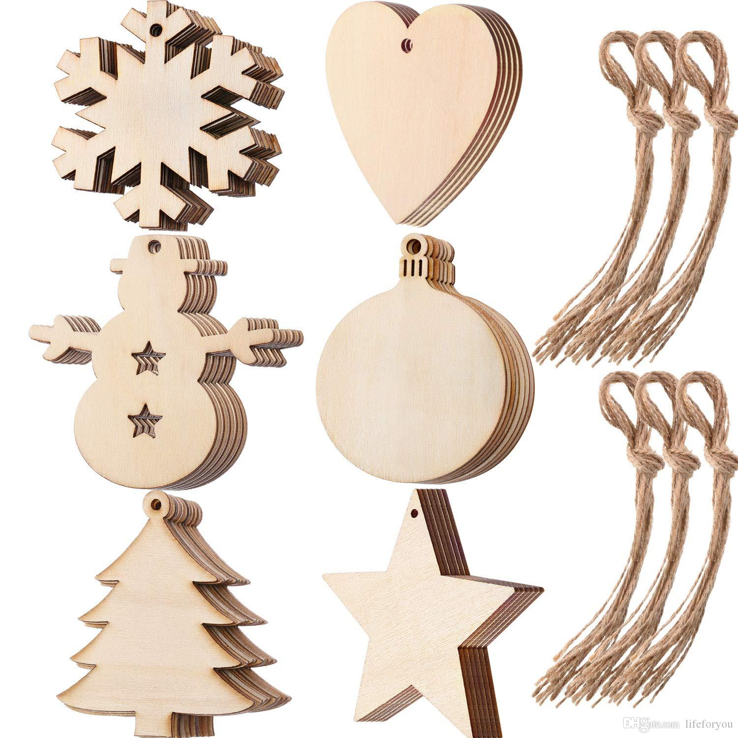 10-Packed wood laser christmas decorations Xmas ornaments outdoor christmas decorations wood hollow snowflake heart ball star tree ornament