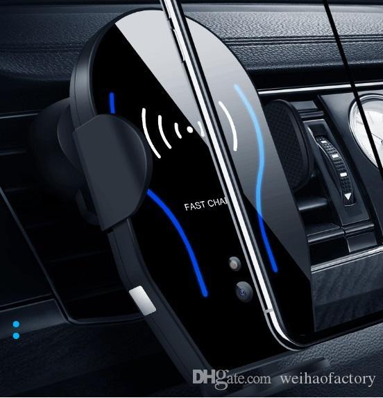 2019 Nuovo X8 Caricabatterie wireless per auto 10W Smart Fast Charging Supporto di ricarica wireless per auto mobile completamente compatibile