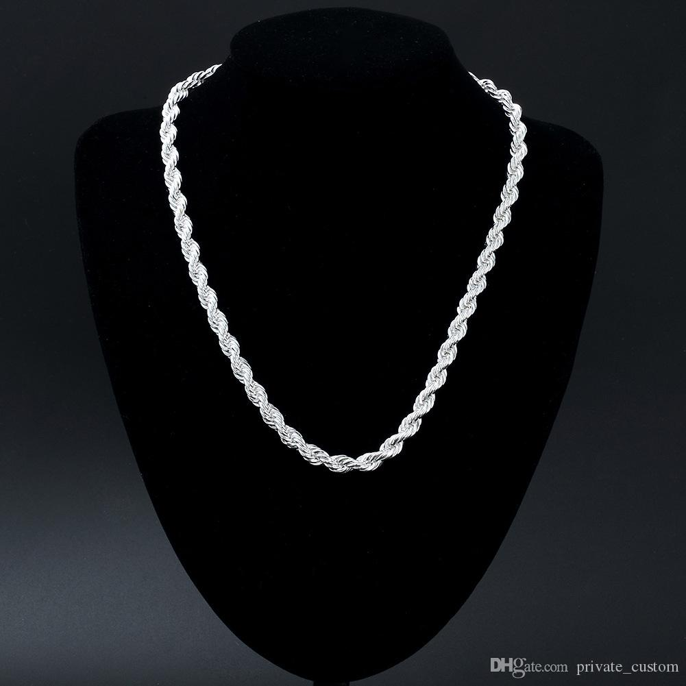 private custom Vogue 925 Silver Filled 8MM Thick France Rope Chains 20inches Twist Link Necklace Wholesale