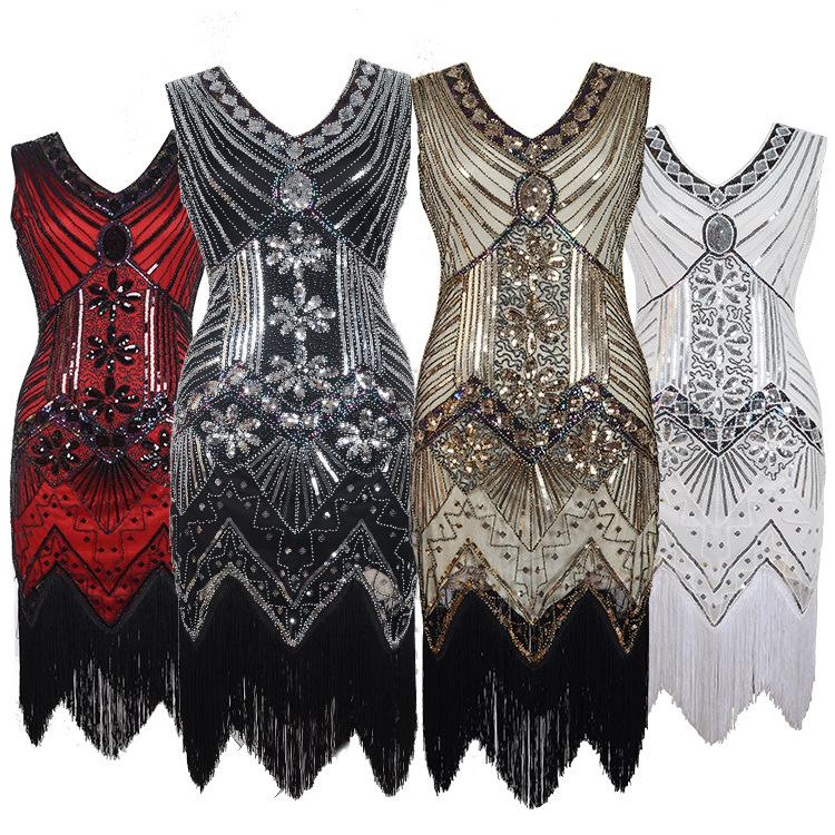 Women Party Prom Dresses Robe Femme 1920s Great Gatsby Flapper Sequin Fringe Midi Dress Vestido Summer Art Deco Retro Black Evening Gowns