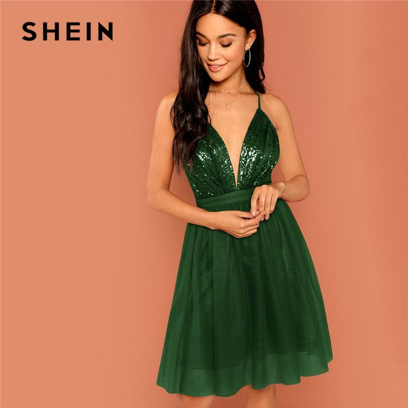 c08cc14a3f SHEIN Green Sequin Detail Mesh Halter Dress Deep V Neck Fit & Flare Sexy  Solid Mini Dress Autumn Modern Lady Women Party Dresses Black Dressed  Casual White ...
