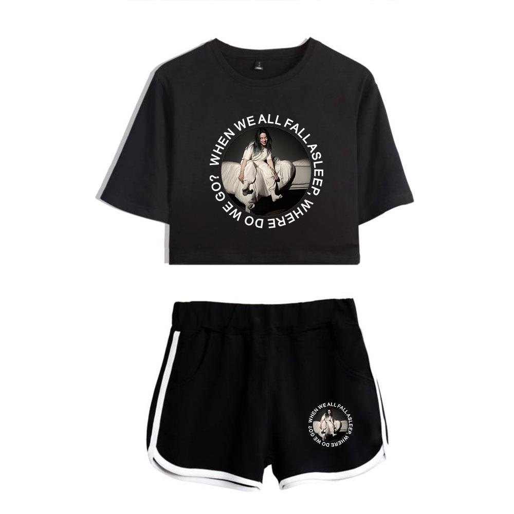 2019 Summer Clothes For Women Billie Eilish Shorts T-shirt 2 Piece Outfits For Women Clothing Workout Tank Top Sexy Lady Outfits Y19051501