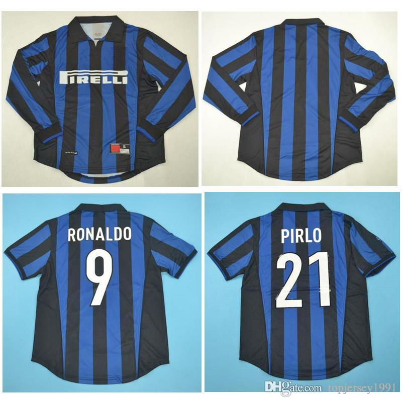 078d221ffc4 Top 98 99 Ronaldo Retro Long Sleeve Jerseys Classic Vintage 1998 ...
