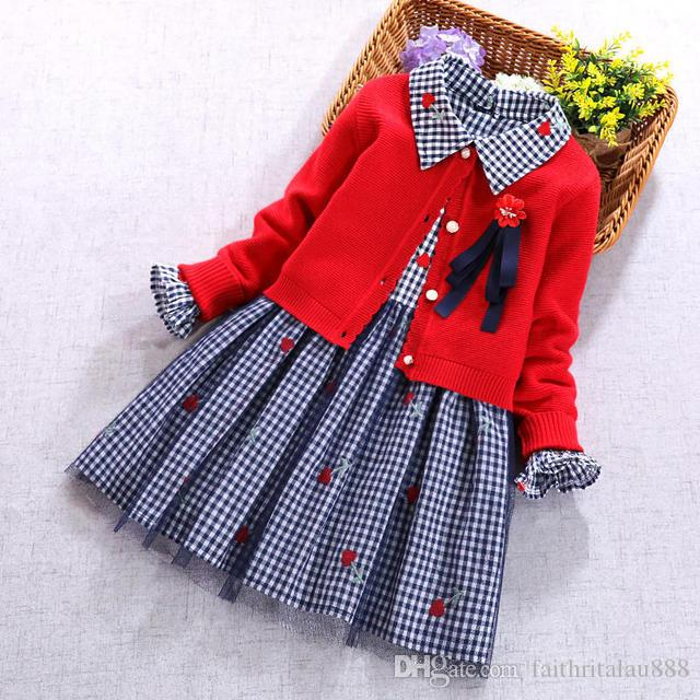 d710c5fe3 2019 Newest Kids Girls Clothes Set Red Cardigan Sweaters Coat And ...
