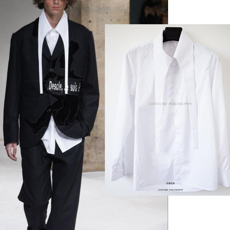 2018 New Yamamoto Yasushi Style Men's Shirts Show Customized Large Collar Stage show