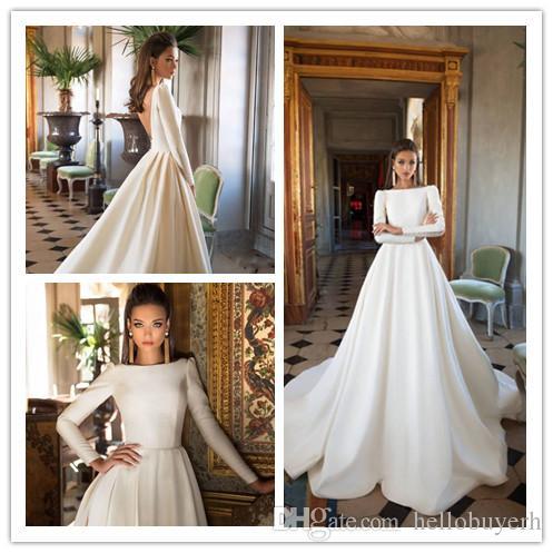 e011b739672c Discount A Line Milla Nova Satin Wedding Dresses Backless Sweep Train Long  Sleeve Bridal Gowns Bateau Neck Winter Bridal Dress Plus Size Nigeria Short  ...