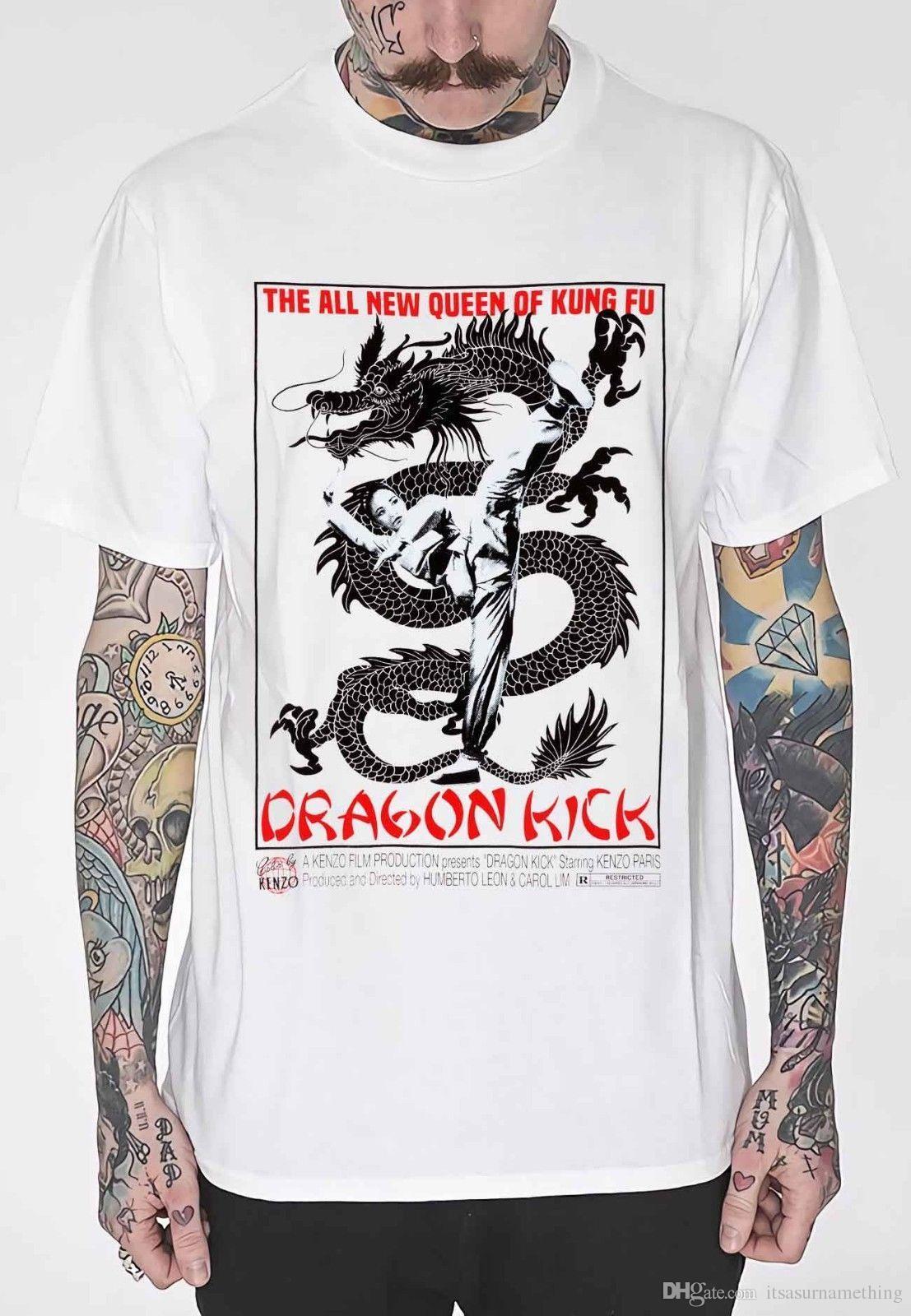 28ddf57fe New Cheap T Shirt Dragon Kick Movie Posters All Men'S Size S.M.L.XL.XXL.3XL T  Shirt Men Short Sleeve T Shirt Summer Cotton T Shirt Shirts T Funky T Shirts  ...
