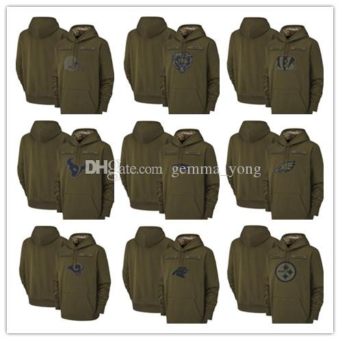 Salute to Service Olive Men Hoodie Green Bay Chicago Packers Bears ... 165fc3ea0
