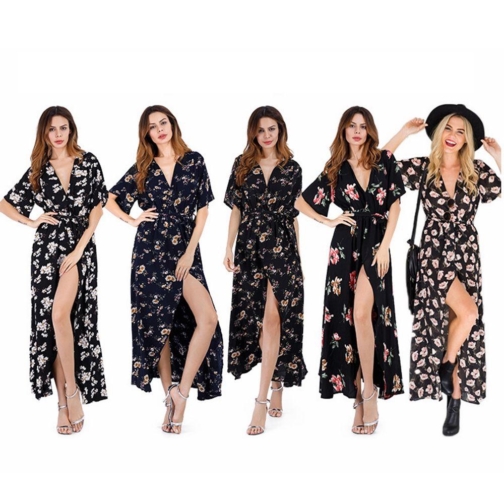 719fc0c73 Compre Mujeres Vestido De Diseñador De Impresión Floral Con Cuello En V  Manga Corta De Vacaciones De Playa De Verano Falda Larga Dama Ropa Vestidos  De ...