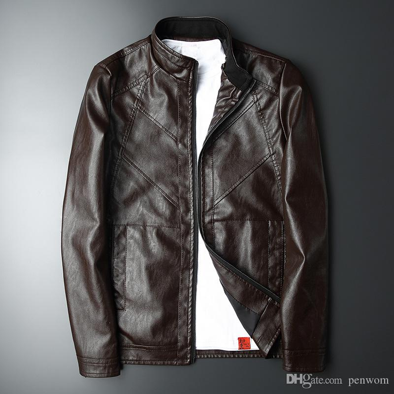 New men's leather men's slim body motorcycle leather jacket black jacket Korean men's tide