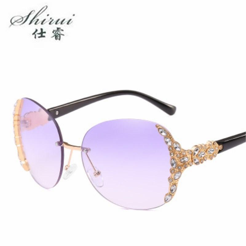 Fashion unique Rimless Crystal decoration sunglasses for women vacation beach sun glasses brand designer oculos de sol Shades