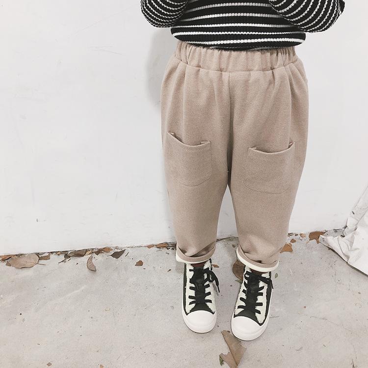 394723976 Niños niñas invierno moda color sólido wollen harem pantalones niños suave  paño grueso y suave espesar grandes bolsillos pantalones casuales ...