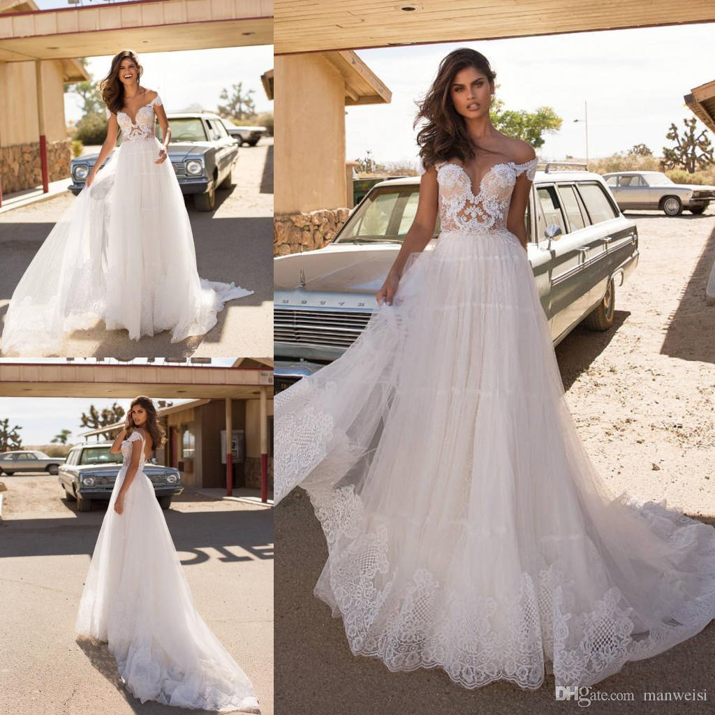 112c53951521 Acquista Milla Nova 2019 Elegante A Line Abiti Da Sposa In Pizzo Applique  Sheer Neck Abiti Da Sposa Paese Boho Boho Backless Wedding Dress A  121.02  Dal ...