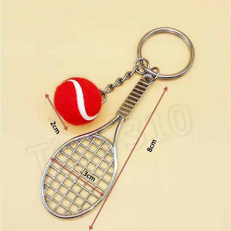 Mini Tennis Keychain Sports Style Key Chains metal Keychains Car Keyring Kids Toy Novel Birthday Gift T2C5187