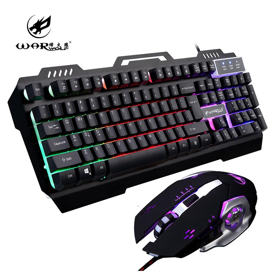 df794f42f5a Großhandel Gaming Tastatur Maus Combo USB Wired 104 Tasten Multimedia Bunte  LED Hintergrundbeleuchtung Metall Tastatur Und Mäusemäuse Für PC Gamer Von  ...