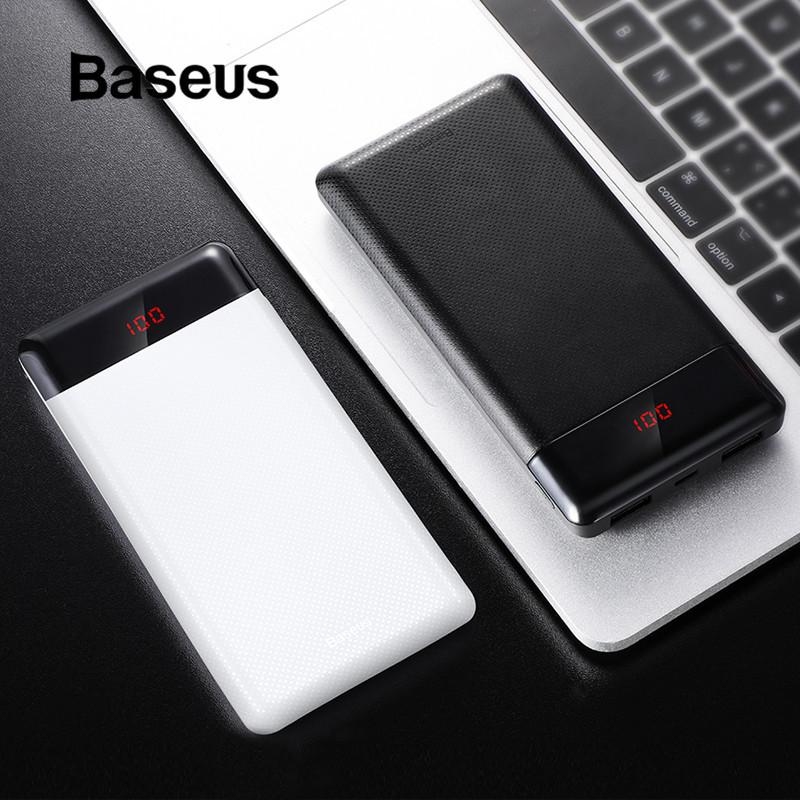 iPhone Para Baseus 10000mAh Mini Power Bank Samsung Xiaomi Dual USB Charger com display LED externo portátil powerbank Bateria